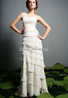 ruching grecian chiffon wedding dress - dresses-house