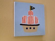 Pirate Ship Canvas Art for nursery boys room by CuteAsAButtonArt, $25.00