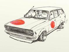 "car illustration ""crazy car art"" jdm japanese old... - ozizo in tokyo"
