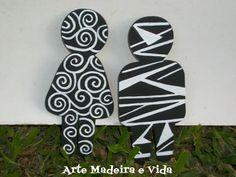 Arte, Madeira e Vida: Placa de Banheiro - Preta e Branca
