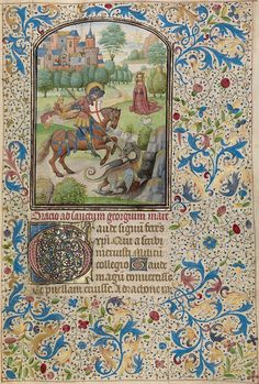 An Illuminated Manuscript - St George and the Dragon by Willem Vrelant