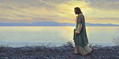 Wall Art - Painting - Walk With Me by Greg Olsen Paintings Of Christ, Jesus Christ Painting, Jesus Art, Greg Olsen, Mormon Temples, Things About Boyfriends, Sunset Sea, Thing 1, Christian Art
