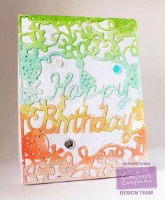 Chrissie Tobas for Crafter's Companion, CAC  Birthday CAC Word Die, Silver Shimmer Spritz, Spectrum Aquas: Blossom, Sunset, Meadow, Bud Green, Aquamarine @spectrumnoir @CraftersCompUS