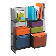 Fold-Up Shelving keeps books, binders and reference materials organized while adding storage for files and other essentials. This three shelf unit features rounded edges. The bottom shelf features tracks for two file folder bins which are included.