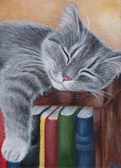 https://flic.kr/p/4QgBPA | Sleeping Cat Painting | Painted by me, size 5x7.