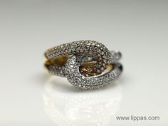 Lippa's Estate and Fine Jewelry - 14 Karat White and Yellow Gold Pave Diamond Knot Ring  (http://lippas.com/14-karat-white-and-yellow-gold-pave-diamond-knot-ring/)