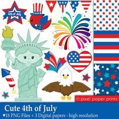 Cute 4th of July  Clipart and Digital paper by pixelpaperprints