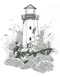 Lighthouse pen and ink signed Illustration PRINT various sizes black and white waves crashing against rock and lighthouse stands strong old by WyldTrees on Etsy Lighthouse Clipart, Lighthouse Sketch, Lighthouse Storm, Lighthouse Art, Wave Illustration, Ink Illustrations, Landscape Illustration, Wave Drawing, Painting & Drawing