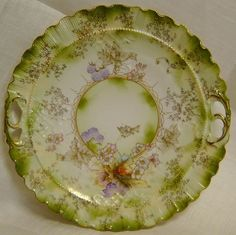 Antiq HP Porcelain Charger Plate / Tray with Pierced Handles, RS Prussia Unmarkd #RSPrussia