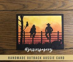 Items similar to Aussie Outback Card on Etsy Masculine Birthday Cards, Birthday Cards For Men, Masculine Cards, Male Birthday, Westerns, Horse Cards, Men's Cards, Making Greeting Cards, Shaped Cards
