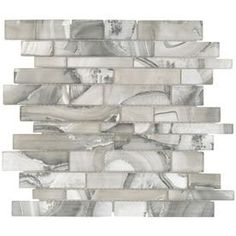 Elida Ceramica Volcanic Beige Silver Glass Mosaic Linear Indoor Only Thinset Mortar Wall Tile (Common: 12-in x 14-in; Actual: 11.75-in x 11.75-in)