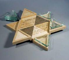 Star of David Jerusalem Stone Seder Plate - 720-362-3497 MileChai.com Jewish Books and Judaica