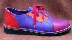 Leather Handmade Shoes Lo Top - Cowhide Blue Red Purple Rainbow Airbrushed Elements Patterned Custom Made Size 5, 6, 7, 8, 9, 10
