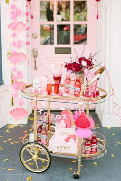 galentine's day bar cart setup