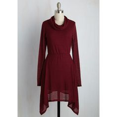 Long Long Sleeve A-line 'Til the Cowls Come Home Dress ($65) via Polyvore featuring dresses, apparel, fashion dress, red, maroon long sleeve dress, sweater dresses, long dresses, red a line dress and a line sweater dress