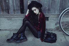 Get this look: http://lb.nu/look/7139794  More looks by Violet Ell: http://lb.nu/user/79093-Violet-E  Items in this look:  Dr. Martens Boots, American Apparel Shorts   #gothic #grunge #vintage