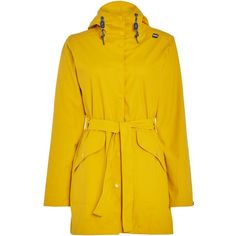 Helly Hansen Kirkwall Rain Coat ($140) ❤ liked on Polyvore featuring outerwear, coats, women, yellow, helly hansen, waterproof raincoat, rain coat, water resistant coat and mac coat