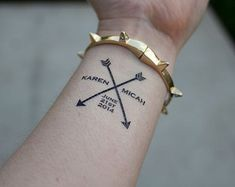 Arrow Wedding Temporary Tattoos- custom wedding tattoo- Pack of 15 tattoos