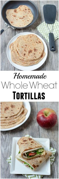 These Homemade Whole Wheat Tortillas are made with just 4 ingredients. They're so easy to make and taste way better than store-bought! Perfect for healthy lunches and dinners.