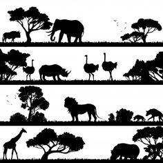 Buy African Landscape Silhouette by macrovector on GraphicRiver. African landscape with trees and wild animals black silhouettes vector illustration. Editable EPS and Render in JPG f. Africa Silhouette, Animal Silhouette, Black Silhouette, Silhouette Vector, African Animals, African Art, African Crafts, Landscape Silhouette, Landscape Illustration