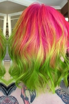 Pink green ombre dyed hair color