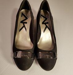 d1a11d56ada Anne Klein Sport Black Fabric Microfiber Patent Wedges Heels Size 9M Anne  Klein