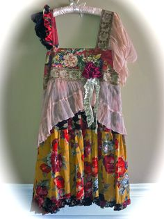 Boho Romantic Parisian Dress Roses n Lace French Bell Epoque Inspired Shabby Chic Ruffled Vintage Trim