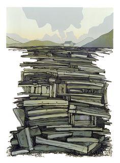 Slate Spoil, North Wales, Linocut, 600mm x420mm Laura Boswell  UK