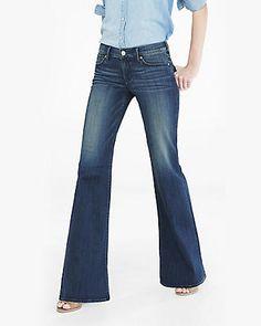 dark blue faded mid rise wide leg flare jean