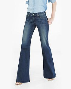 dark blue faded mid rise wide leg flare jean