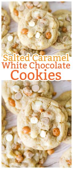 Easy chewy salted caramel white chocolate cookies with an amazingly soft cookie! So yummy, you can't stop at just one! Salted Caramel White Chocolate Cookies are perfect for holidays, parties and when you are craving sweet and salty together! #caramel #saltedcaramel #cookies #whitechocolatechip #christmascookies #saltedcaramelwhitechocolatecookies #cookieswithcaramel #cookieswithwhitechocolate White Chocolate Cookies, Caramel Cookies, Salted Chocolate, White Chocolate Chips, Cookie Desserts, Dessert Recipes, Easy Desserts, Best Cookie Recipes, Baking Recipes