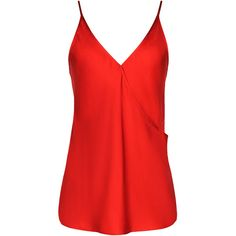 Jonathan Saunders Ginger Wrap-Front Tank In Red ($550) ❤ liked on Polyvore featuring tops, blusa, tank tops, red sleeveless top, strappy tank, red tank, camisoles & tank tops and v neck camisole