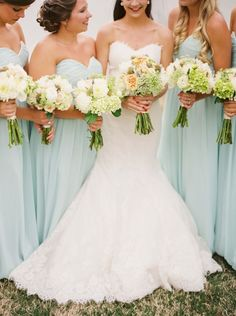 mint green bridesmaid dresses and white wedding bouquets | Deer Pearl Flowers