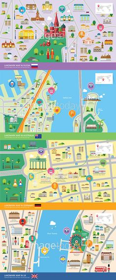 city maps focused on their landmarks  ********** 통로이미지(주)에서 그래픽디자이너 모집중! 자세한 사항은… Leaflet Design, Map Design, Village Map, Tourist Map, Modern City, Cartography, Map Art, Graphic Design Illustration, Creative Design