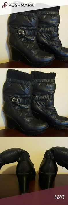 """Wedged heel above ankle boot This black sassy boot is mixed with upper leather and quilted materials. It is accented with a buckle around the ankle. Looks great with jeans and any straight or skinny legged pants! Heel is 3.5"""" high which includes a  1"""" platform. Report Shoes Ankle Boots & Booties"""