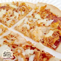 BBQ Chicken Pizza  1 low carb wrap (we used La Tortilla), 2 oz shredded chicken breast, 1 tbs BBQ sauce (look for a low sugar one or try making our homemade recipe), 1-2 tbs chopped onion, 1/8 cup part-skim mozzarella cheese, optional: 1 tbs feta cheese