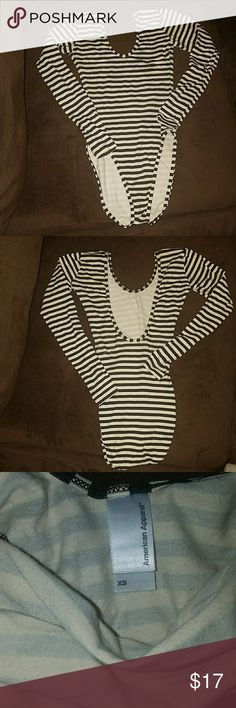 American Apparel U-Back Bodysuit Cream and black xs bodysuit with u shaped back exposed. Barely used American Apparel Tops
