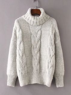 Cable Knit Turtleneck Sweater Women - Apparel - Sweaters - Pull Over Sweater Outfits, Fall Outfits, Fashion Outfits, Fast Fashion, Sweater Cardigan, Gray Sweater, Women's Fashion, Pull Torsadé, Pullover Outfit