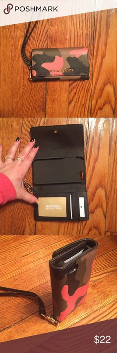 Michael Kors wristlet/IPhone case This is a brand new with tags Michael Kors wristlet and IPhone 5 case. Army print Saffiano leather. There are 3 credit card pockets and one pocket for cash. MICHAEL Michael Kors Accessories Phone Cases