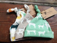 Organic Baby Hat Rustic Deer Toddler Beanie by SilverPencilsHome