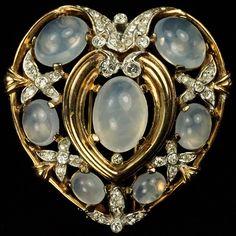 Trifari 'Alfred Philippe' Moonstone Cabochon Heart Pin Clip