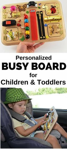 Do you need a #toy to keep your kids busy in the car or on the go? I am so excited about these personalized busy boards! Keep kids entertained and they are educational too! Check them out! #ad | busy board | toddler toys | toy | toys | travel toys | Montessori toys | educational toys | preschool activities | baby toys | wooden toys | #montessoribaby