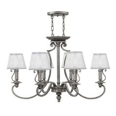 Plymouth Polished Antique Nickel 22.5-Inch Six-Light Chandelier