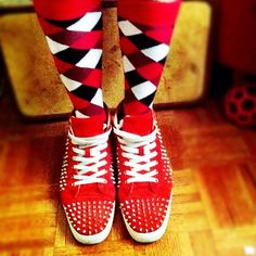 COOLIN-izing the World with Louboutins on my feet Crazy Socks, Cool Socks, Funny Socks, Sock Shoes, Leg Warmers, Addiction, Swag, Tights, Outfit Ideas