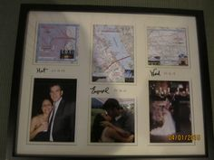 Make it yourself gift.  Pictures of couple and maps of where they: Met, Engaged and Wed.