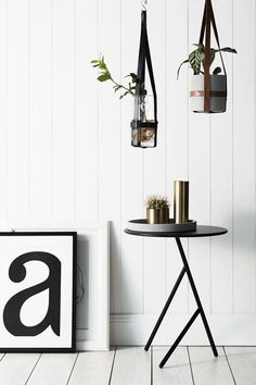 Design escandinavo: preto e branco + tipografia + plantas #decor #details