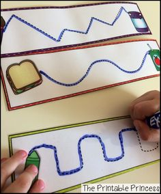 Write and wipe tracing lines. Great practice for pre-writing skills.