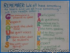 Reminders on working in groups or with partners