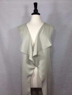 NEW CHICO'S Size 2 = 12/14 $109 Draped Long Vest Putty Womens Top Tencel NWT #Chicos #Vest #Career