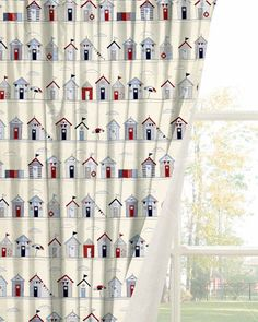 Fryetts Beach Huts Blue Curtain
